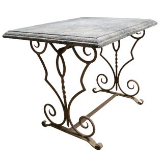 19th Century French Antique Limestone Table With Iron Base For Sale