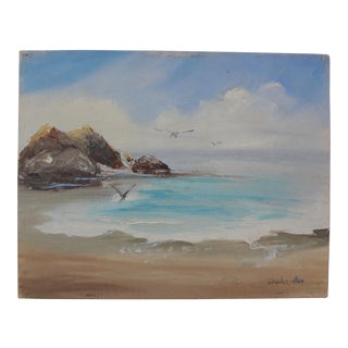 Seascape Small Signed Oil on Canvas