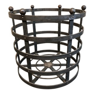 Rustic Round Iron Firewood Basket For Sale