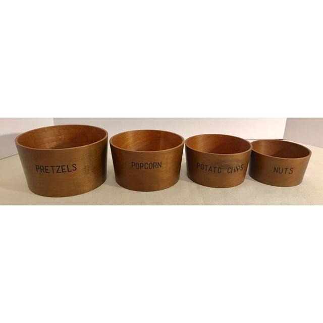 Vintage Wooden Nesting Snack Bowls - Set of 4 - Image 10 of 10