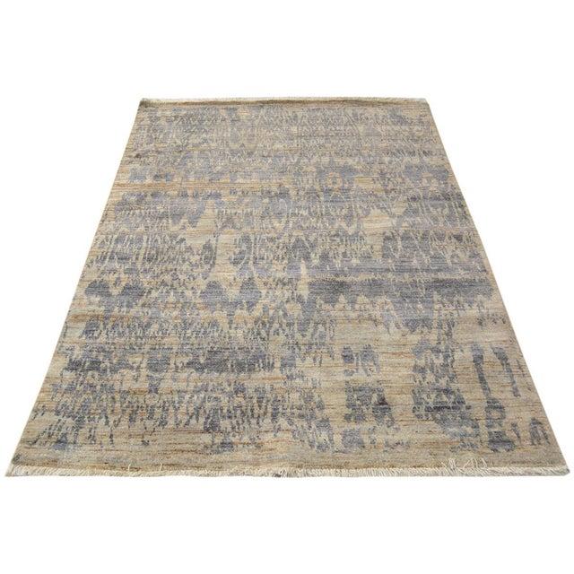 Textile Kafkaz Peshawar Crysta Gray & Blue Wool Rug - 4'1 X 6'3 For Sale - Image 7 of 8