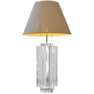 Lucite Les Prismatiques Substantial Table Lamp For Sale
