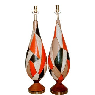 Pair of Vintage Italian Ceramic Googie Style Tall Table Lamps For Sale