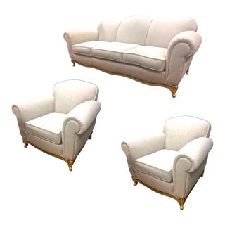 Maison Jansen Exceptional Comfy Neoclassic Set of One Couch and Two Armchairs