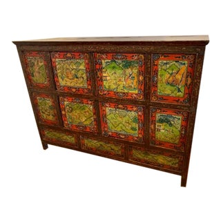 Rare Tibetian Polychrome Cabinet For Sale