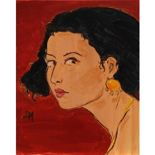 """""""The Yellow Earring"""" Contemporary Painting by Sarah Myers For Sale"""