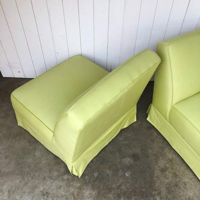 Mid 20th Century Vintage Custom Made Skirted Lounge Chairs in New Chartreuse Fabric - a Pair For Sale - Image 5 of 11