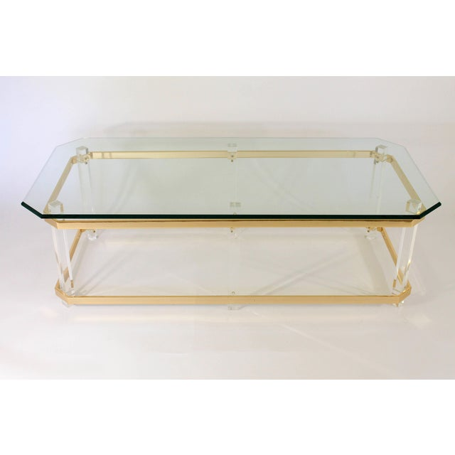 Hollywood Regency Lucite and Brass Coffee Table For Sale - Image 3 of 7