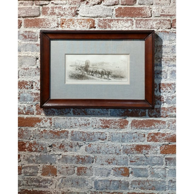 Edward Borein Emigrant Train Covered Wagon With Bulls Original Etching For Sale - Image 10 of 10