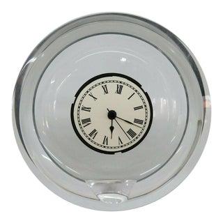 Mid Century Modern Style Italian Lucite Round Mantel Shelf Clock For Sale