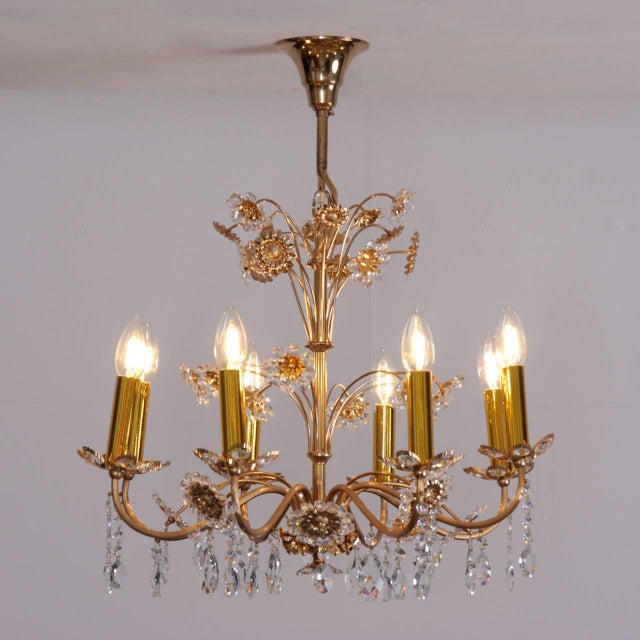 1960s Huge Palwa Gilded Brass and Glass Flower Chandelier For Sale - Image 5 of 5