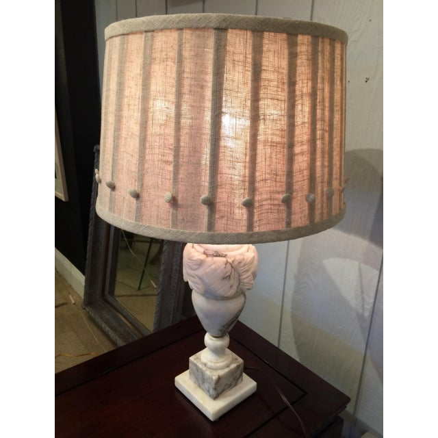 1980s Marble Table Lamps With Custom Shades - A Pair For Sale - Image 5 of 8