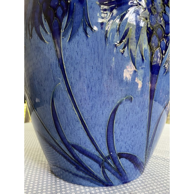 1928 Moorcroft Cornflower Blue Art Deco Signed and Dated Large Table Vase For Sale In Minneapolis - Image 6 of 13