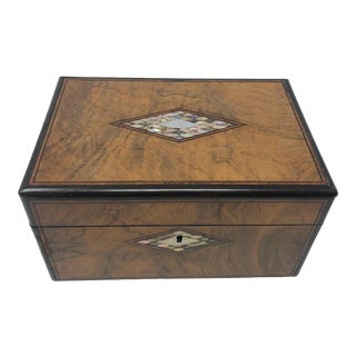Late 19th Century English Inlaid Burl Walnut Box With Mother of Pearl and Abalone For Sale