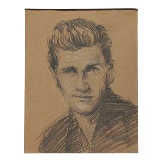 Vintage Charcoal Portrait of a Handsome Man For Sale