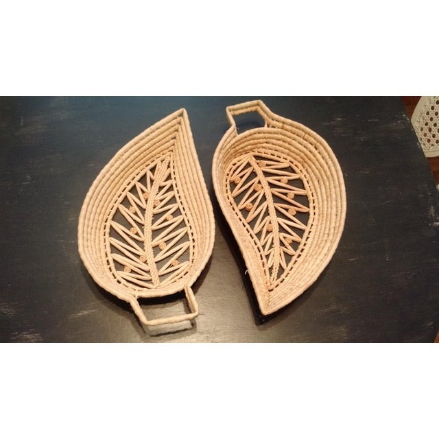 Woven Wicker Leaf Baskets - A Pair - Image 2 of 4