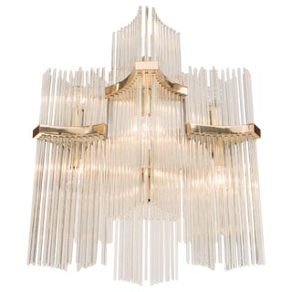 Mid-Century Gaetano Sciolari Glass Rod and Brass Chandelier for Lightolier For Sale