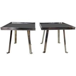 Italian Modernist Aluminum and Black Glass 'Vitrolite' Tables - A Pair For Sale