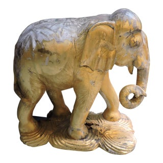 Gold Painted And Carved Wooden Elephant For Sale