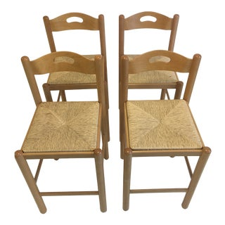 Italian Modern Rush Seat Counter Height Stools Set of 4 For Sale