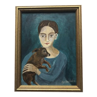 1990s Portrait of Woman and Dog Painting For Sale