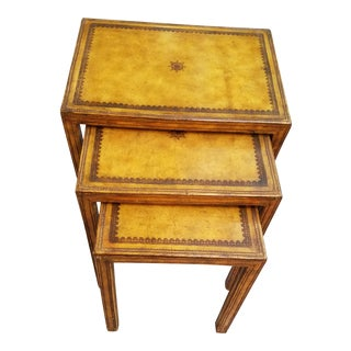 Maitland Smith Patinated Cognac Tooled and Wrapped Leather Nesting Tables - Set of 3