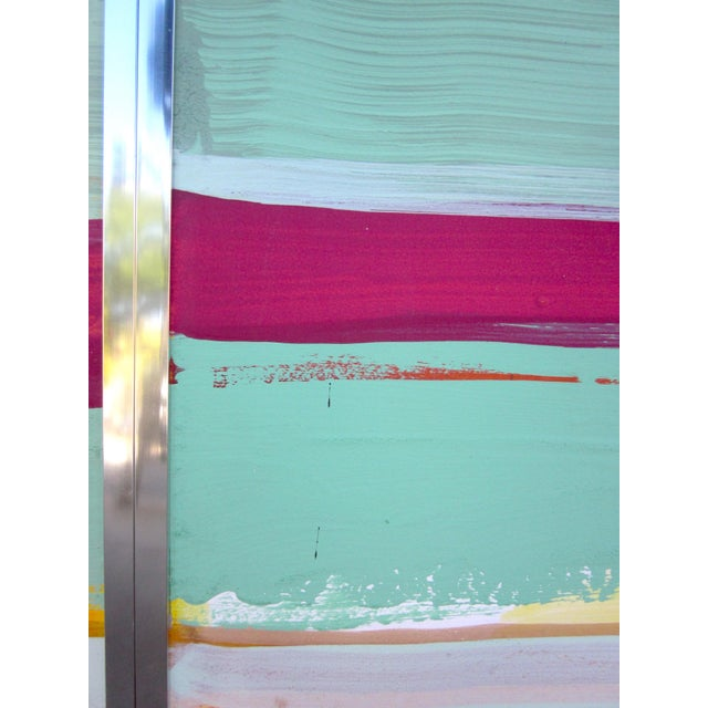 1980s Vintage Four Panel Abstract Geometric Seaside Pastel Horizontal Line Paintings - Set of 2 For Sale - Image 10 of 12