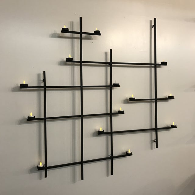 Contemporary 1960s Vintage Mid-Century Modern Wrought Iron Tea Light Holder Wall Hanging For Sale - Image 3 of 6