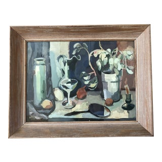 Large Mid-Century Modern Framed Abstract Still Life Painting For Sale
