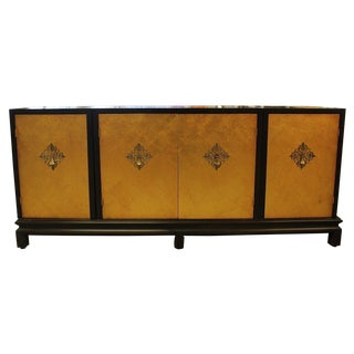 Renzo Rutili for Johnson Furniture Mid Century Modern Asian Gold Gilt Credenza For Sale