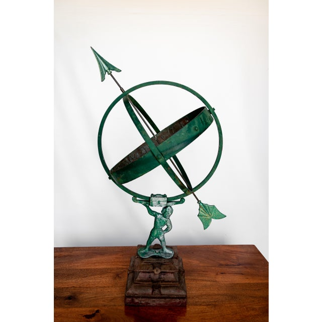 1940 the Archer Swedish Armillary/Sundial on Wood Base For Sale - Image 9 of 9