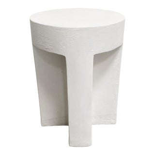 The Sano Round Detailed Plaster Accent Table For Sale