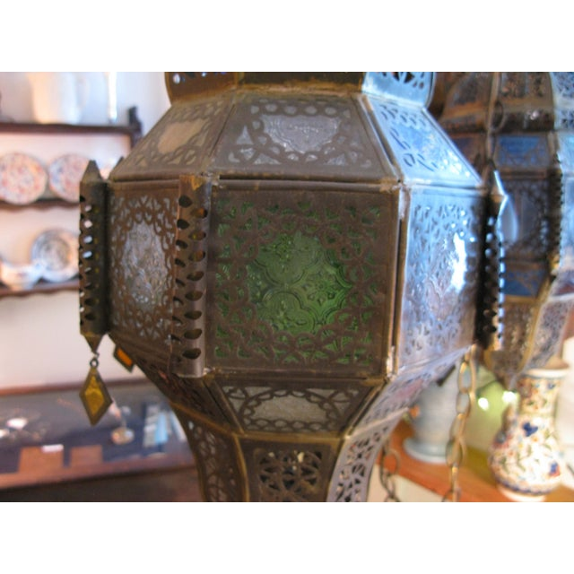 Antique Hanging Moroccan Lanterns - A Pair - Image 3 of 9