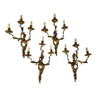 French Brass Three Light Sconces C. 1940 - Set of 4 For Sale