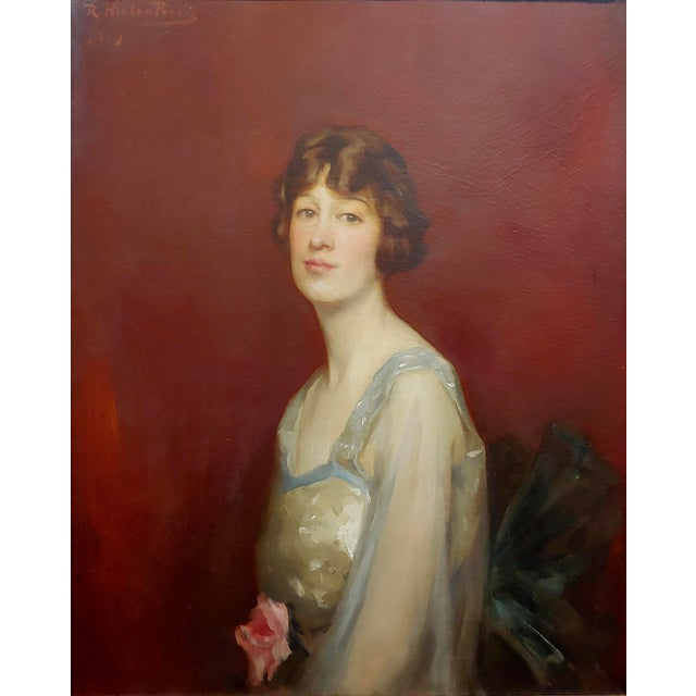 Beaux-Arts Roland Hinton Perry -Portrait of a Woman in a Stylish Dress -C.1919 Oil Painting For Sale - Image 3 of 11