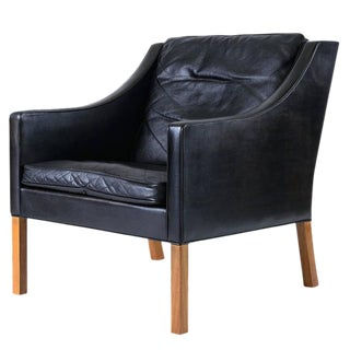 Borge Mogensen Model #2207 Leather Lounge Chair For Sale