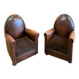 Image of 1940s Vintage Cathedrale Art Deco Leather Chairs- A Pair For Sale