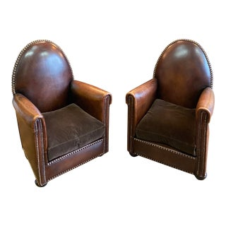 1940s Vintage Cathedrale Art Deco Leather Chairs- A Pair For Sale