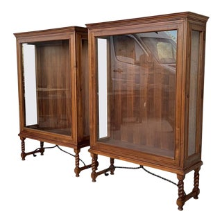 20th Spanish Colonial Pair of Display Cabinets or Vitrines With Side Opening For Sale