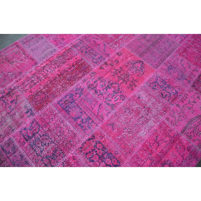 Pink Overdyed Turkish Anatolian Patchwork Carpet - 7′1″ × 10′ For Sale In Austin - Image 6 of 11
