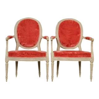 Painted French 19th Century Louis XVI-Style Fauteuils - a Pair For Sale