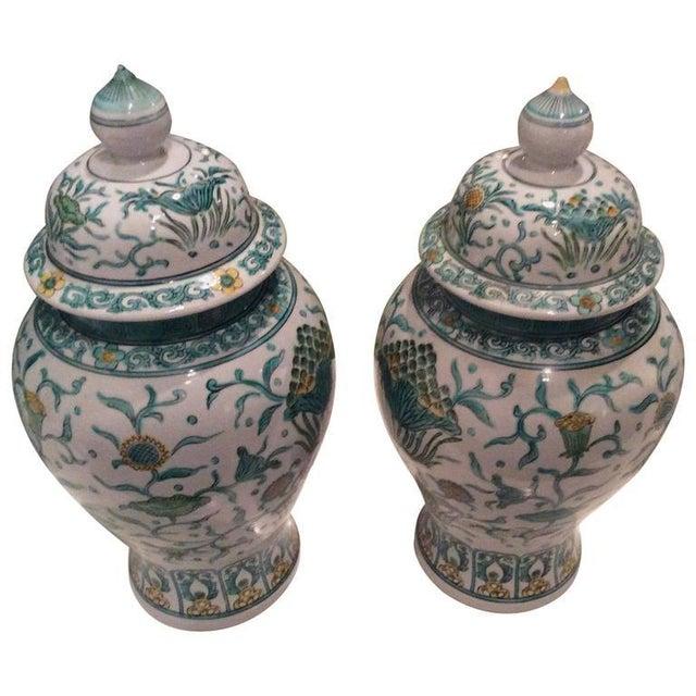 Vintage Green Asian Oriental Greek Key Hollywood Regency Ginger Jars - a Pair For Sale - Image 11 of 11