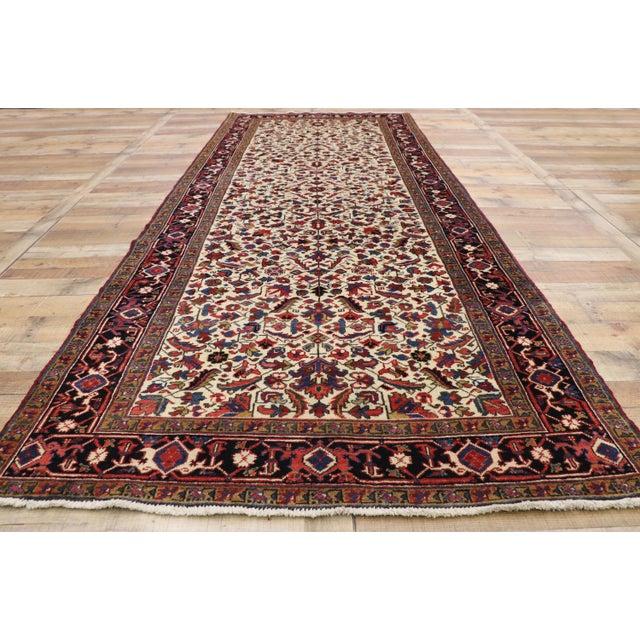 Textile Antique Persian Heriz Rug Runner - 04'09 X 12'02 For Sale - Image 7 of 10