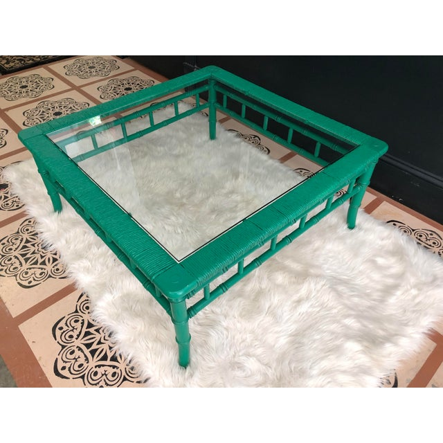Traditional Emerald Green Bamboo Rattan Coffee Table For Sale - Image 3 of 11