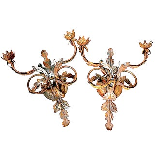 20th Century Italian Florentine Tole Leaf Sconces - a Pair
