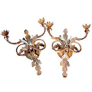 Italian Florentine Tole Leaf Sconces - a Pair For Sale