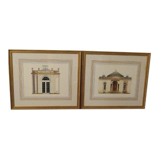 Chelsea House Architectural Colored Sketches - a Pair For Sale