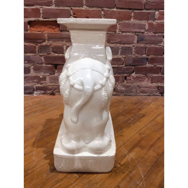 1980s Vintage White Glazed Pottery Elephant Tables/Stands - a Pair For Sale - Image 5 of 8