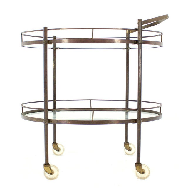 Oval Two-Tier Brass Tea Cart or Serving Table For Sale - Image 5 of 6
