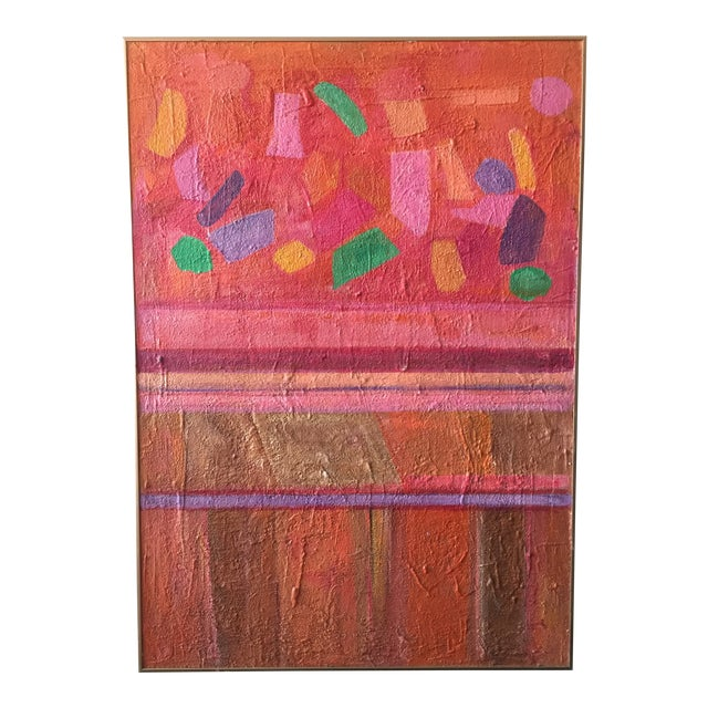 Large Mid Century Modern Abstract Geometric Painting For Sale
